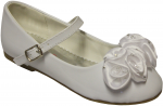 GIRLS FLAT SHOES W/ SATIN FLOWER IN FRONT (WHTPAT)